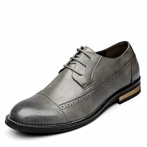 Leather Lace Modern Classic Oxford Men's Lined JINGJING Formal Grey Shoes up Dress wIq7tT