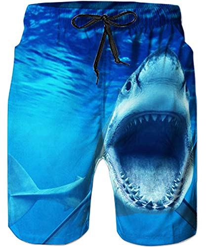 - TUONROAD Youth Swimming Trunks Crazy Navy Blue Sea Shark Whale Retro Vintage Swim Rave Shorts Cool Board Shorts Adjustable Surf Shorts with Mesh Lining Side Pockets for Sunmmer Holiday Vacation