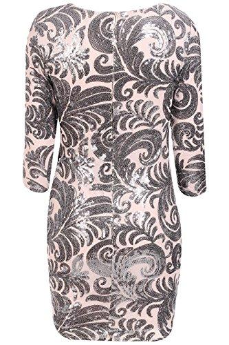Pailletten Floral 36 verziert Größe Design EUR figurbetontes Nackt Damen Kleid 42 gBWE1w