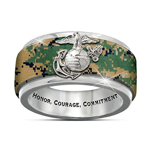 Bradford USMC Pride Engraved Men's Camo Spinning Ring: 13
