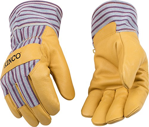 Kinco 1927-L-1 Premium grain pigskin palm, Trademarked OttoTM striped fabric back & cuff, Lined safety cuff, Heatkeep thermal lining, Size: ()
