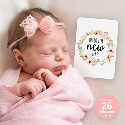 Baby Milestone Cards, Set of 26 - Newborn First Year Progress Report Cards with Cute Sayings and Floral Wreath Prints - Unique Baby Shower Gift for New Moms, Parents - for Girls by CoCreative Design (Image #1)