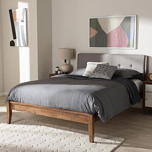 Baxton Studio Leyton Fabric Queen Size Platform Bed in Light Grey and Walnut Brown (Walnut Queen Headboard Size)
