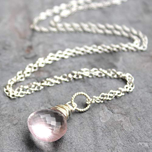 Rose Quartz Necklace Pink Pendant Drop Sterling Silver Briolette 18 Inch -