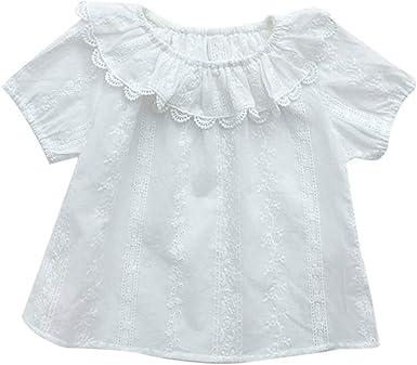 Hongyuangl Camisa Blanca de Encaje para Niños Niñas Blusa de Verano, Camiseta de algodón, Edad 1-7 años: Amazon.es: Ropa y accesorios
