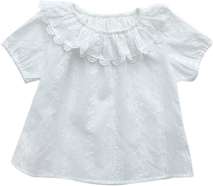 Hongyuangl Camisa Blanca de Encaje para Niños Niñas Blusa de ...