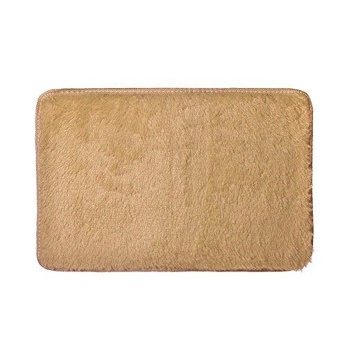 Clearance Tuscom Coral Fleece Short Hair Anti Skid Soft and Comfortable Non-Slip Hairy Carpet,for Living Room Bedroom Shaggy Carpet,60x40cm Carpet(8 Colors) (Khaki)