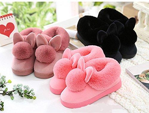 Minetom Damen Winter Baumwolle Pantoffeln Dickere Wärme Plüsch Kuschelige Hasenohren Home Hausschuhe Anti Rutsch Slippers A- Weinrot