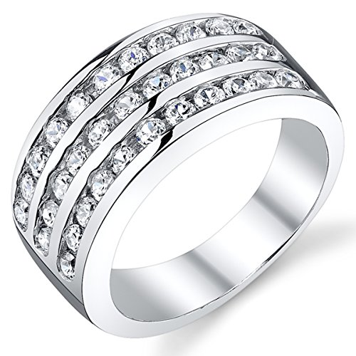 (10MM Sterling Silver Men's Cubic Zirconia Wedding Band Ring Size 8)