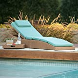 Light Brown Resin Wicker Chaise Lounge Outdoor Pool Lounger w/ Sea Blue Cushion