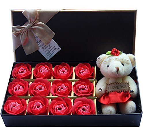 Rosesoap 2015 Hot Sales 12Pcs Box Romantic Rose Soap Flower With Little Bear  Great For Valentines Day Gifts  Wedding Gift Birthday Gifts  Red