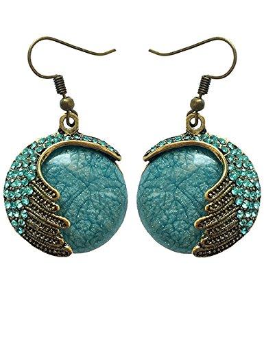 [LNKRE JEWELRY Charms Vintage Bohemian Cat's Eye Stone Crystal Peacock Dangle Earrings A2] (Homemade Elephant Costume Ears)