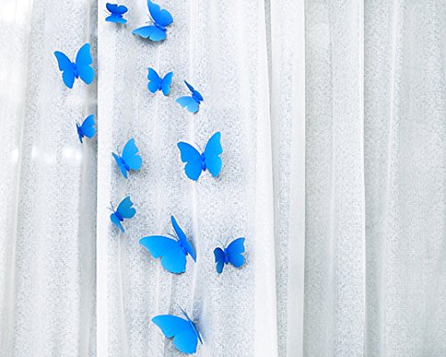 FLY SPRAY Creative 24pcs Vivid Blue Butterfly Mural Decor Removable Wall Stickers with Adhesive Decals Nursery Decoration 3D - Planet Blog Shop Blue