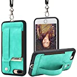 TOOVREN Upgraded iPhone 7 Plus Case, iPhone 8 Plus Wallet Case, Necklace Lanyard Case with Kickstand Card Holder, Ajust Detachable Anti-Lost Lanyard Strap Perfect for Daily use, Work, Outdoors Aqua