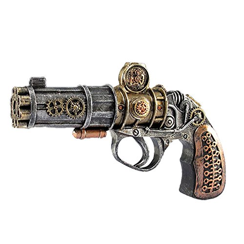 LCM Steampunk Polyresin Collectible Decorative 6 Barrel Pistol Silver Gold Bronze 7.5 SW06