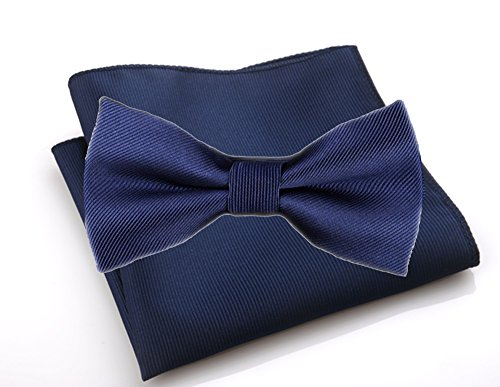 - Flairs New York Gentleman's Essentials Bow Tie and Pocket Square Matching Set (Regular Bow Tie & Pocket Square Set, Prussian Blue [Stripes Texture])