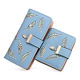 Women's Long short Leather Money Clip Card Case Holder Purse Zipper Buckle Elegant Clutch Wallet(pair) (Blue)