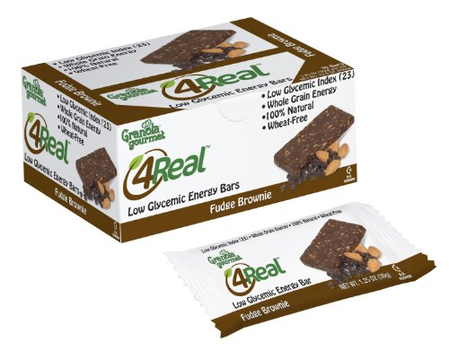 Granola Gourmet 4Real Low Glycemic Energy Bars - Fudge Brownie, 10-Count Bars