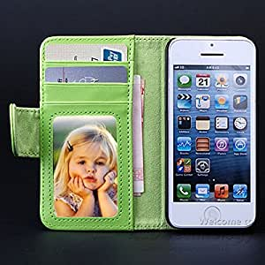 Photo Frame 50pcs/lot For iPhone 5C Luxury Leather Case Stand Folio Flip Cover + Card Slot YXF02585 --- Color:white