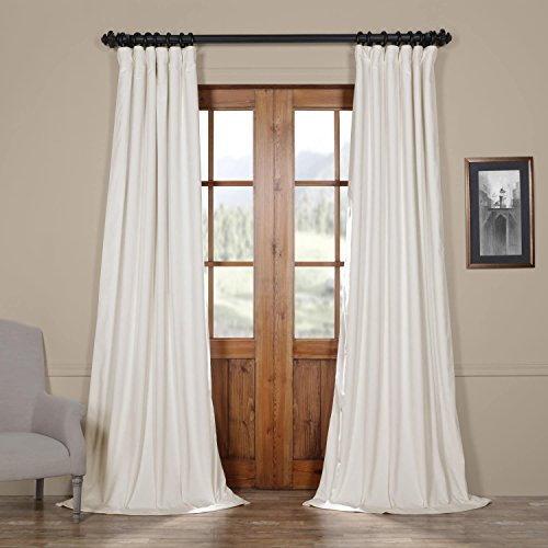 IYUEGO Pinch Pleat Solid Velvet Lining 90% Blackout Curtain Thermal Insulated Patio Door Curtain Panel Drape For Traverse Rod and Track, Off White 100W x 96L Inch (set of 1 Panel)