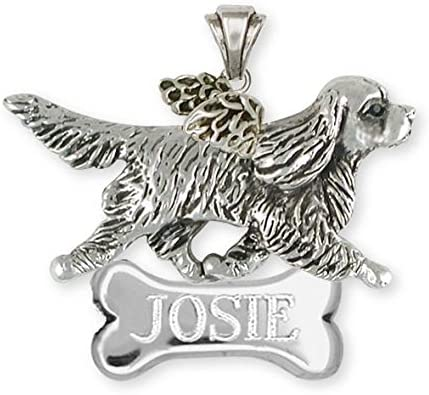 Cavalier King Charles Spaniel Angel Pendant Jewelry Silver And 14k Gold Handmade