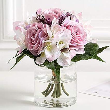 JWSHOP Decoración para el hogar Flor Artificial, Flor de Seda, Rosa, Hortensia,