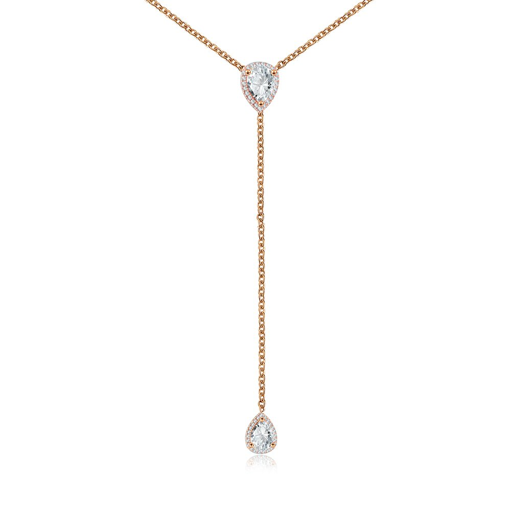 "espere CZ Pear Drop Lariat Necklace 16"" with 2.75"" Y Drop Adjustable 3 Colors Available"