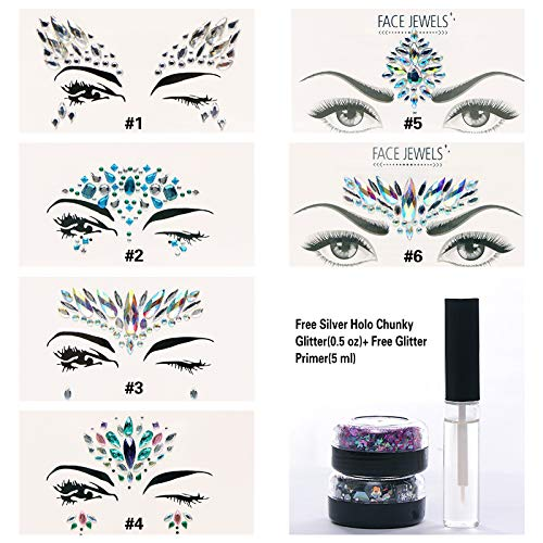 6 Sets Mermaid Body Chest Face Eyes Gems Rhinestones Jewels Crystals Jewelry Stickers Temporary Tattoo for Music Festival Party Carnival+Free Chunky Glitter+Glitter Glue By GADGETS ENTREPOT(Pack #11) -