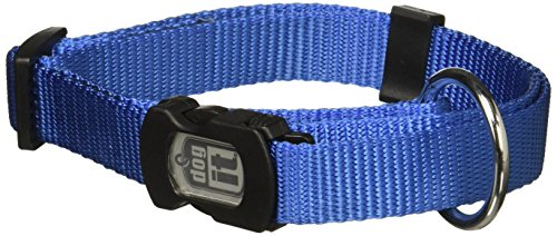 (Dogit Nylon Adjustable Single Ply Dog Collar with Plastic Snap, Large, 3/4-Inch, Blue)