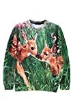 Pink Queen Green Deer Digital Printed Long Sleeve Sweater Sweatshirt(M)