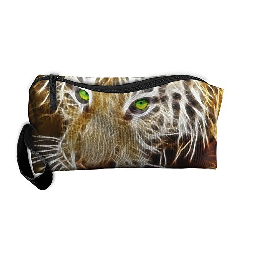 Tiger With Green Eyes Cosmetic Bags Brush Pouch Makeup Bag Zipper Wallet Hangbag Pen Organizer Carry Case Wristlet Holder]()