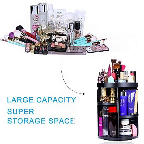 Aspior Bathroom Organizer 360 Rotating Cosmetic Storage Holders for Modern Vanity Countertop Makeup Accessories Display Large Capacity 7 Layers Adjustable (Round Black)