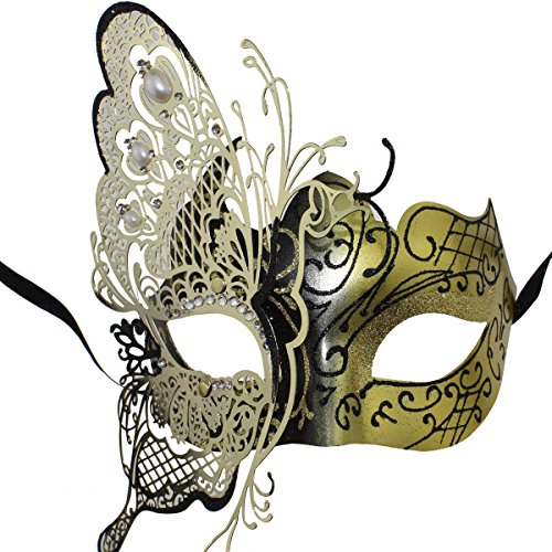 Metal Masquerade Masks Mardi Gras Costumes with Butterfly Shape by Coxeer