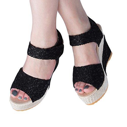 BeautyGal Women Summer Bohemian Magic Tape Platform Wedge Sandals Black z7uLwzS