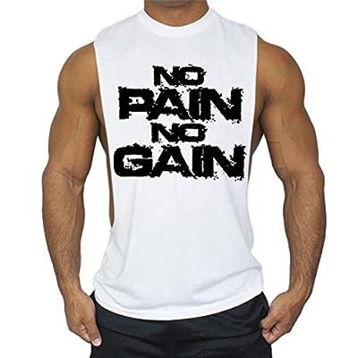 WWL Fshion Mens No Pain No Gain Gym Tank Top Stringer Bodybuilding Vest Workout Muscle Shirt