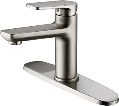 Bathroom Faucet Hmegao Single Handle Single Hole Or 3 Holes Bathroom Sink Faucet Brushed Nickel With Cupc Supply Hose 10 Inch Deck Plate Neoperl Bubbler And Lead Free Copper Vanity