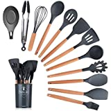Bolergift Silicone Kitchen Utensils, Cooking Utensils with Wood handle, Set of 11 Heat-Resistant Non-Stick Turner, Whisk…