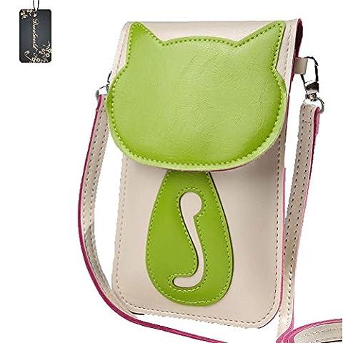 Donalworld Mini Crossbody Shoulder Bag 3D Cute Small PU Leather Phone Bag Green