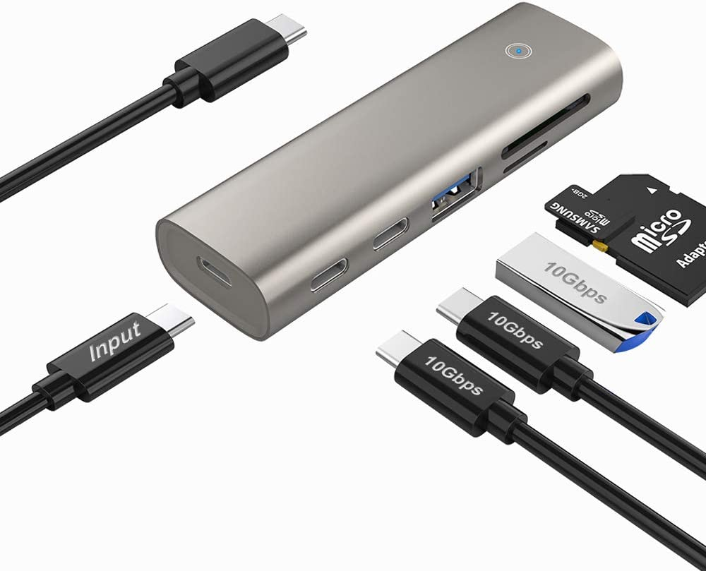 USB 3.2/3.1 Gen 2 Hub, 10Gbps USB C Data Hub with 2 USB Type C Ports, USB Type A Port and SD/TF Card Reader Adapter Slot, Bus Powered Hub Dock Compatible with Windows/Mac/Linux RT-HC463