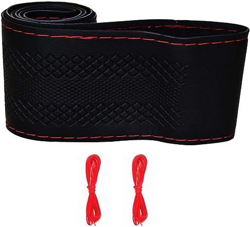 Schwarz Rot PU Leder DIY Auto Lenkradbezug 38cm mit Nadel und Faden DDE