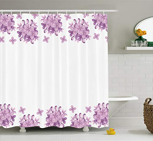 Ambesonne Floral Shower Curtain, Graphic Lilac Flower Blossoms on White Background Spring Nature Illustration, Fabric Bathroom Decor Set with Hooks, 70 Inches, Lilac White (And Curtains White Lilac)