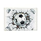 NYMB Soccer Decor, A Football Broken Stone Wall Sprot Bath Rugs for Bathroom, Non-Slip Floor Entryways Outdoor Indoor Front Door Mat, Kids Bath Mat, 15.7x23.6in Black White(Multi26)