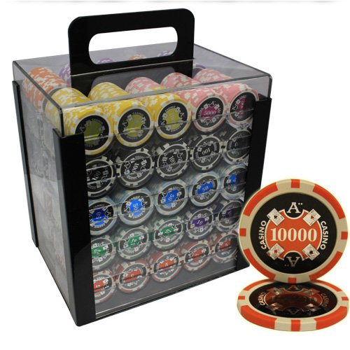 MRC 1000pcs Ace Casino Laser Poker Chips Set with Acrylic Case Custom Build