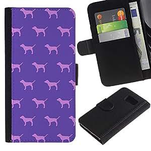 WonderWall ( No Para S6 EDGE ) Fondo De Pantalla Imagen Diseño Cuero Voltear Ranura Tarjeta Funda Carcasa Cover Skin Case Tapa Para Samsung Galaxy S6 SM-G920 - perro rosa púrpura del papel pintado