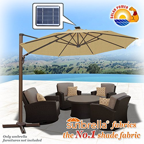 Strong Camel 11.5' Deluxe Cantilever Big Roma Umbrella Hanging Offset Solar Umbrella UV50+ Tilt & 360'C Rotation Patio Heavyduty Outdoor Sunshade Cantilever Crank SUNBRELLA Cover (Beige) by Strong Camel (Image #3)