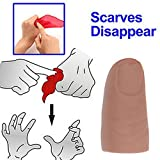 Funny Magic Trick Props Close Up Vanish Appearing Plastic Finger Thumb Tip + Red Silk