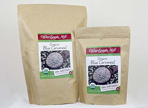 (War Eagle Mill Organic Blue Cornmeal in a resealable bag)