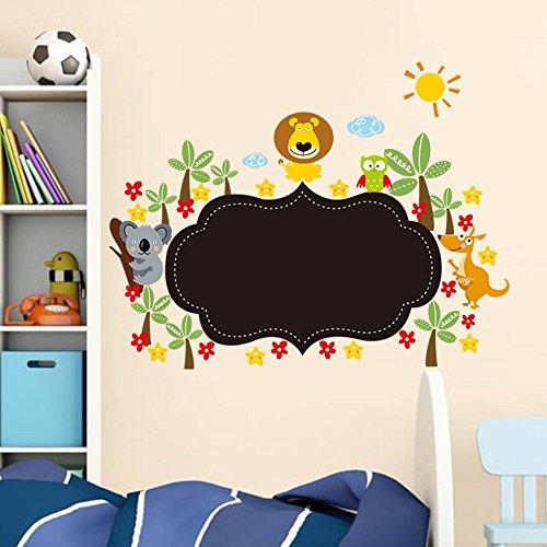 Pakdeevong shop Cute lion animal wall sticker PVC flower chalk board blackboard wall sticker wallpaper decal wallpaper wallpaper kids room decorate house. ( oval shape )