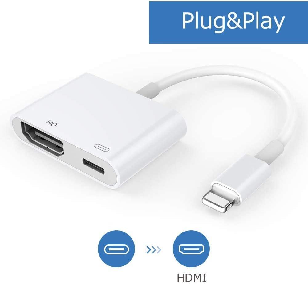 Adaptador de Cable HDMI, Adaptador AV Digital 1080P con Puerto Hembra, Conector de Pantalla de sincronización HDMI Compatible con teléfono/Almohadilla [se Necesita Fuente de alimentación] (Blanco): Amazon.es: Electrónica