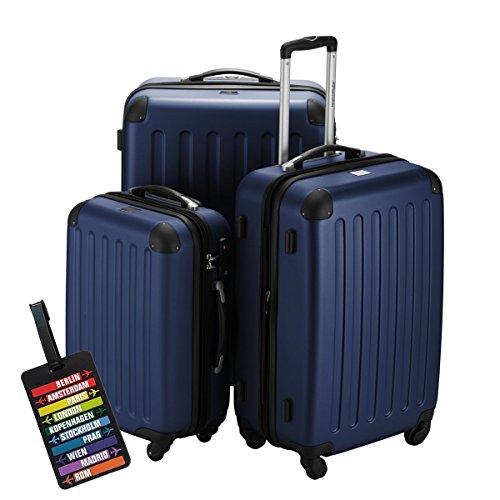 HAUPTSTADTKOFFER® Hartschalen Koffer SPREE 1203 · 3 Koffergrößen (49Liter · 82Liter · 128Liter) · MATT · TSA Zahlenschloss · + KOFFERANHÄNGER (Set, Dunkelblau)
